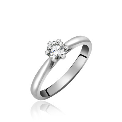 ROUND BRILLIANT CUT SIX CLAW SET SINGLE STONE DIAMOND RING